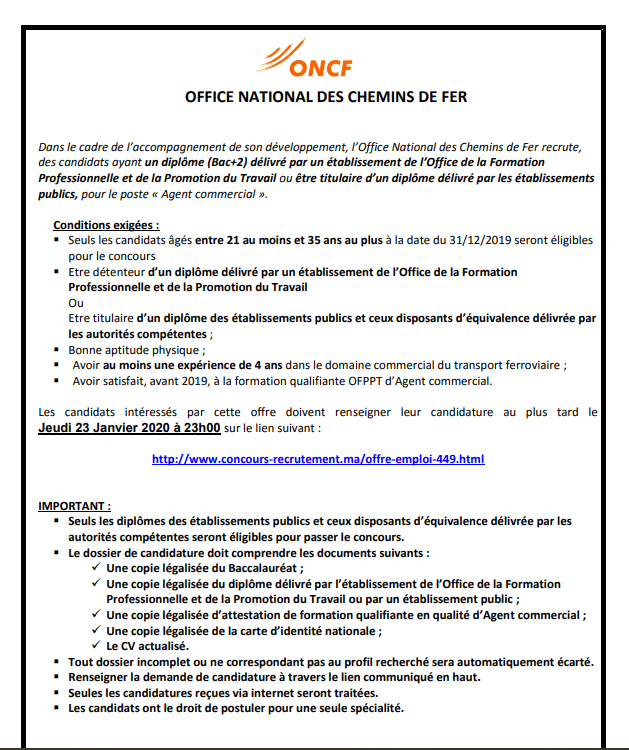 oncf recrutement
