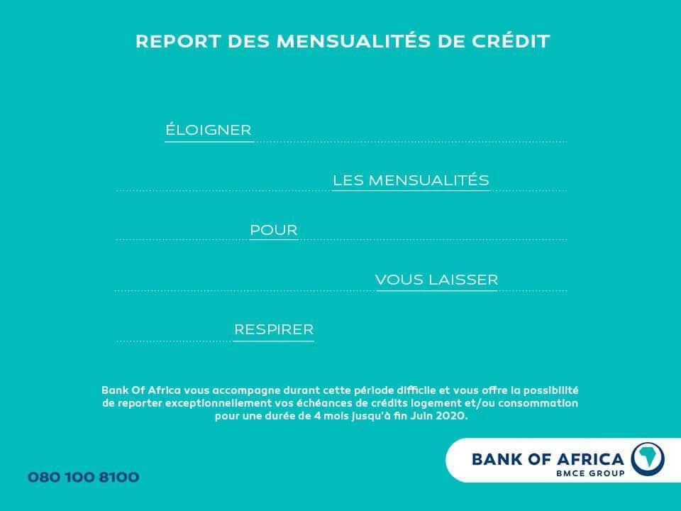 إجراءات تأجيل سداد قروض كريدي البنك المغربي للتجارة الخارجية لافريقيا BMCE Bank