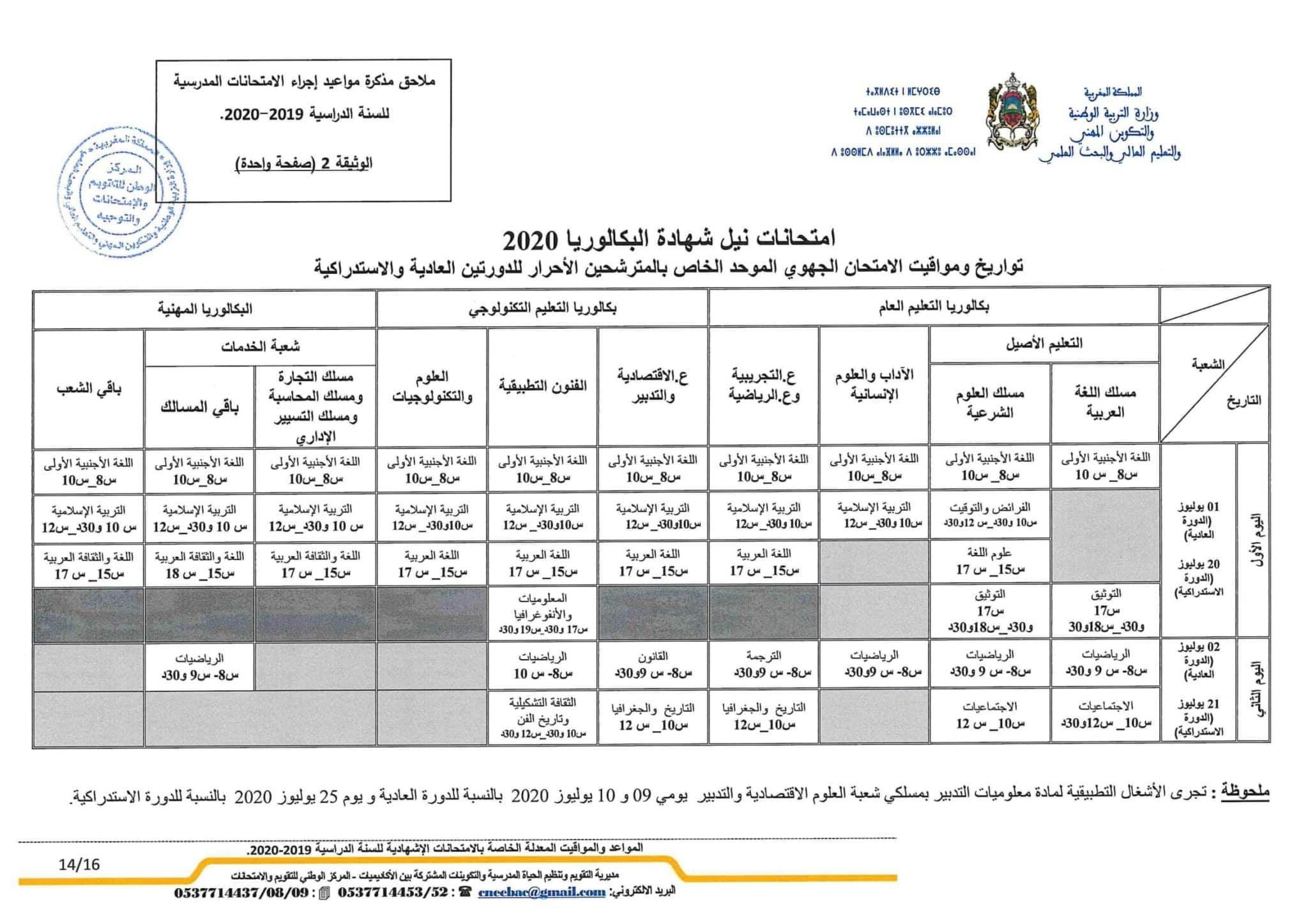 جدولة و مواعيد اجراء مواد الامتحان الجهوي 2020