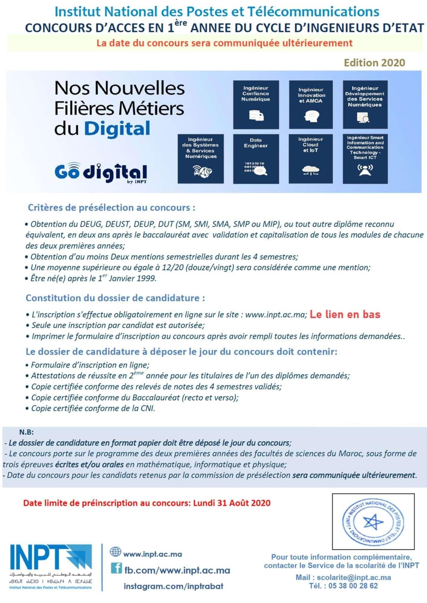 Inscription Concours INPT 2020/2021