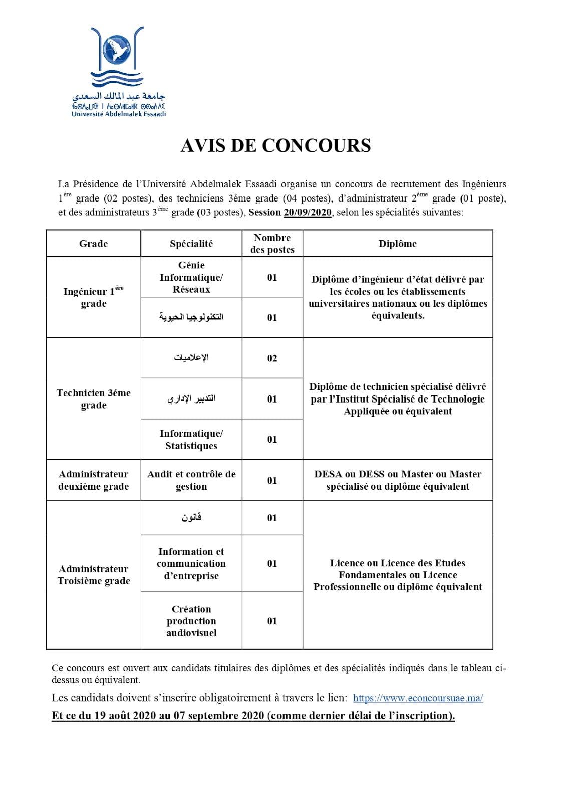Concours Université Abdelmalek Essaâdi 2020 (10 Postes)
