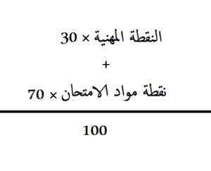 معدل النجاح في الامتحان المهني