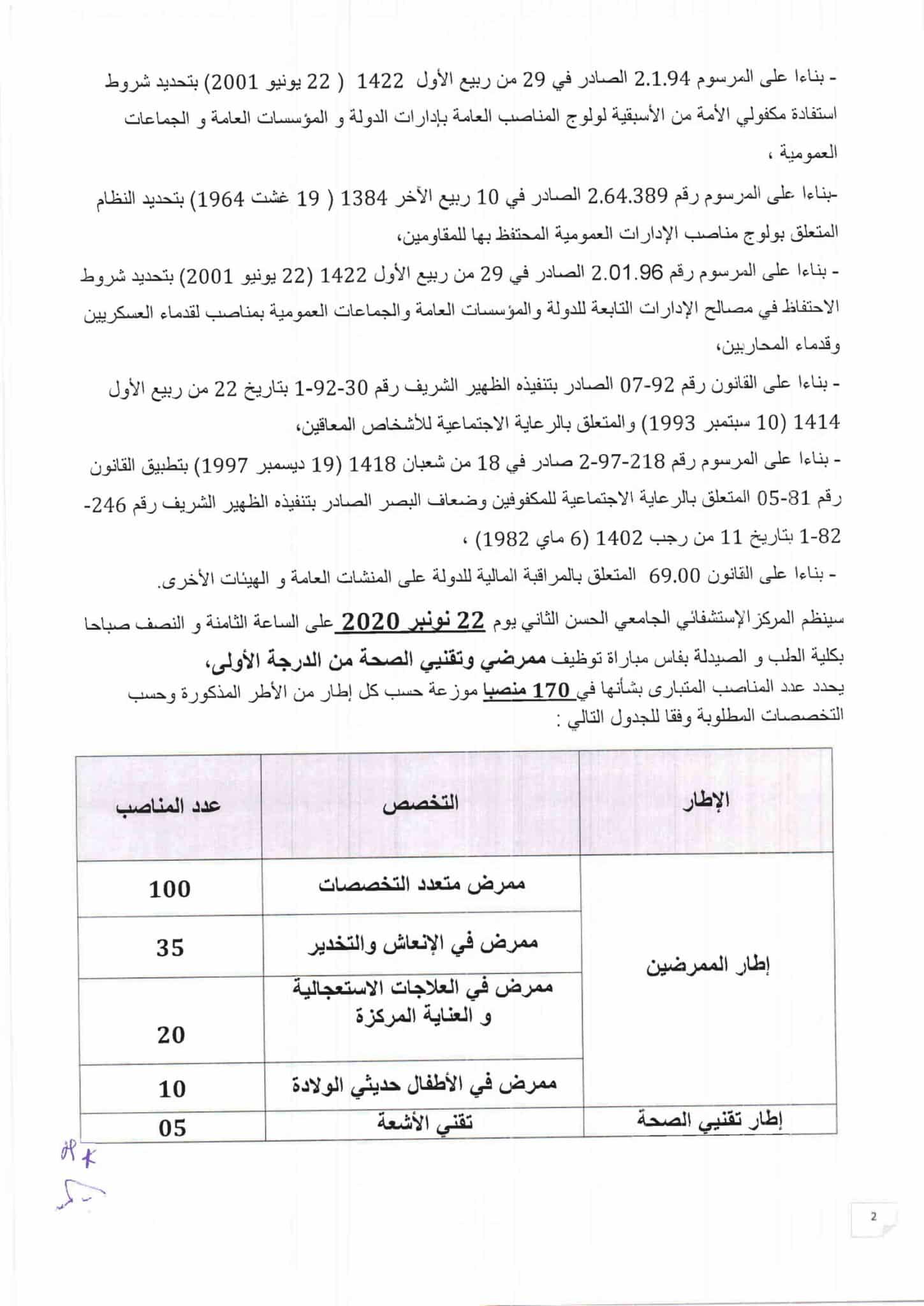 Concours de Recrutement CHU Hassan II