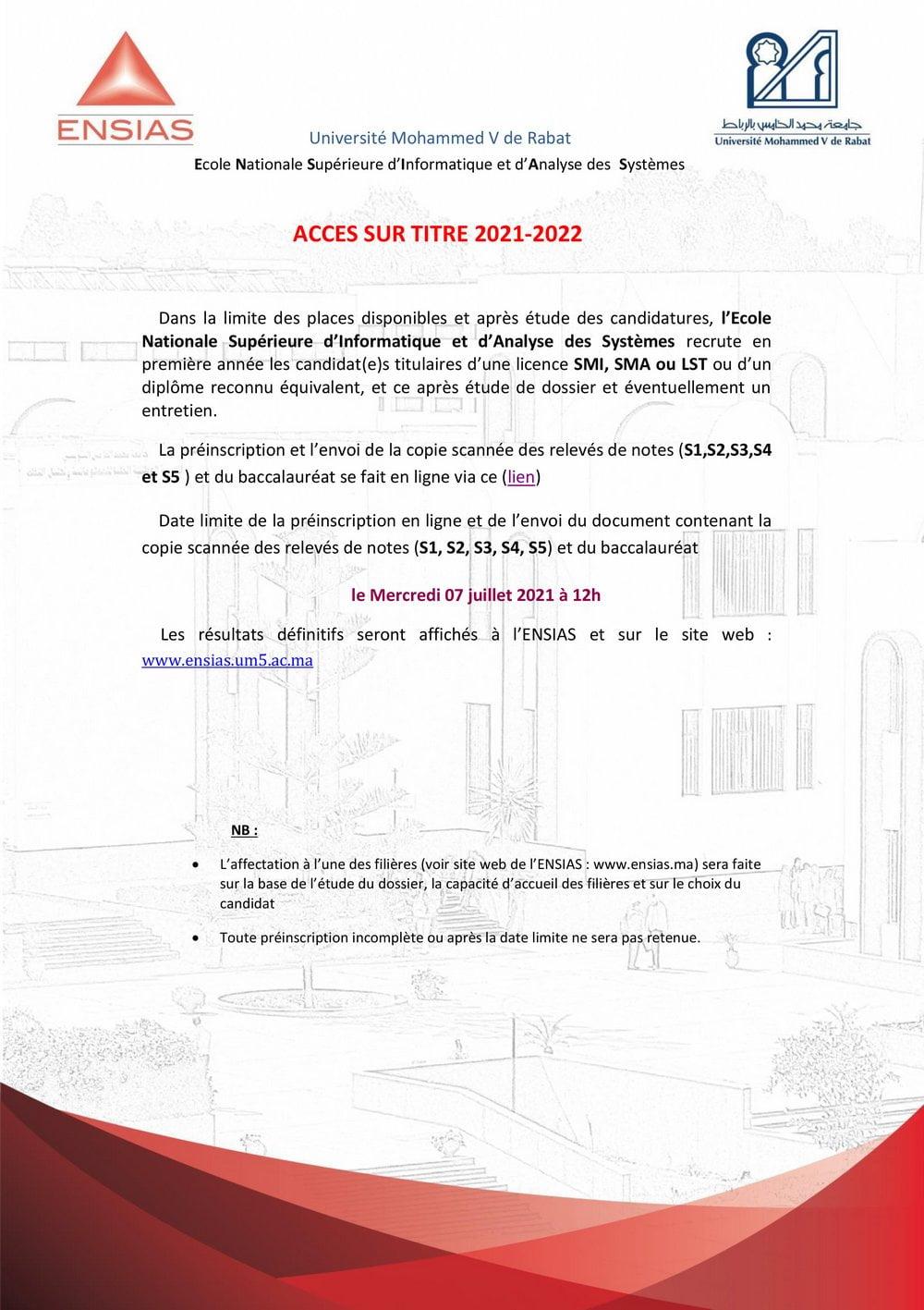 concours ensias 2022/2021