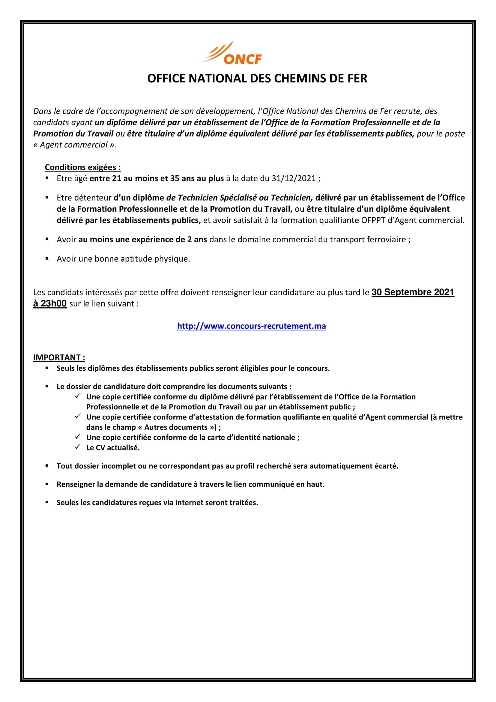 Concours de Recrutement ONCF 2021 (25 Postes)